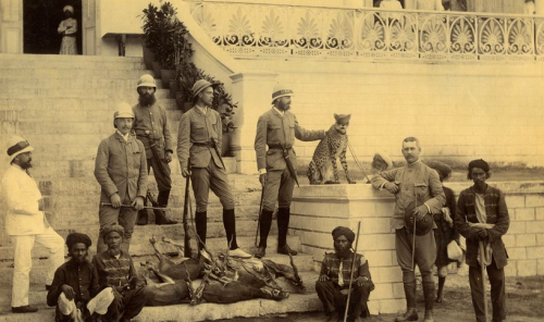 Grand Duke Alexander of Russia and companions after a cheetah hunt in March 1891